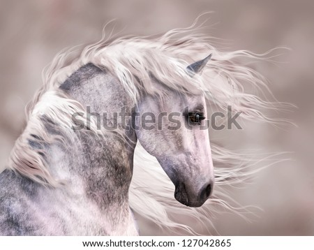 A digital render of the profile of a dappled grey horse.  Close up head shot, monochromatic warm sepia tones. - stock photo
