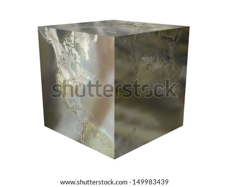 A digital rendering of the Earth as a metallic cube. - stock photo