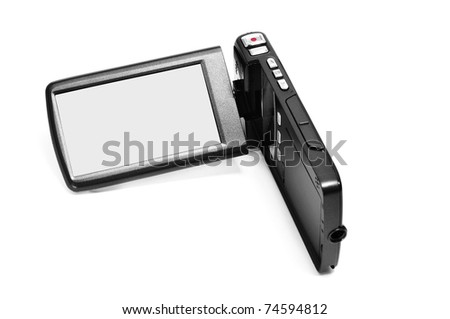 a digital video camera on a white background