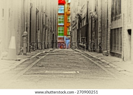 A digitally constructed antique style painting of an inner city back alleyway - stock photo