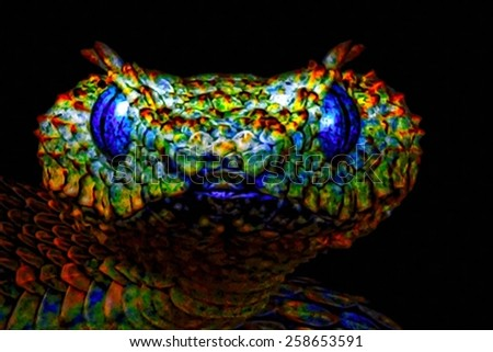 A digitally constructed painting of a colourful snakes head - stock photo