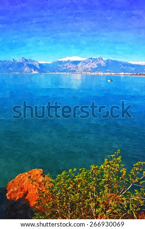 A digitally constructed painting of a small fishing boat  with snow covered mountains in Antalya Turkey - stock photo