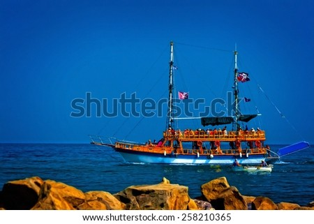 A digitally constructed painting of a Turkish gulet cruise boat - stock photo