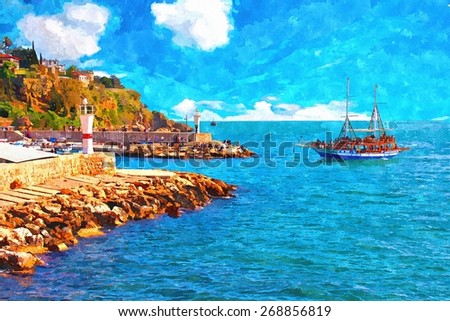 A digitally constructed painting of Kaleici harbour in Antalya Turkey - stock photo
