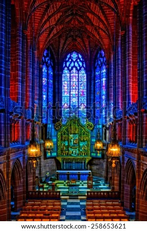 A digitally constructed painting of Lady Chapel Anglican Cathedral Liverpool UK - stock photo