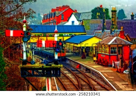 A digitally constructed painting of Llangollen railway station North Wales UK - stock photo
