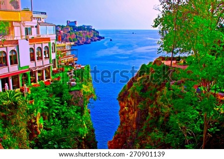 A digitally constructed painting of the coastline of Kaleici Antalya Turkey - stock photo