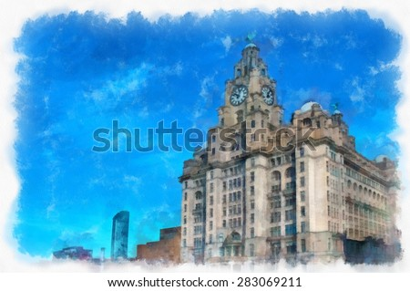 A digitally constructed painting of The Liver Buildings on Liverpool waterfront in aquarelle style