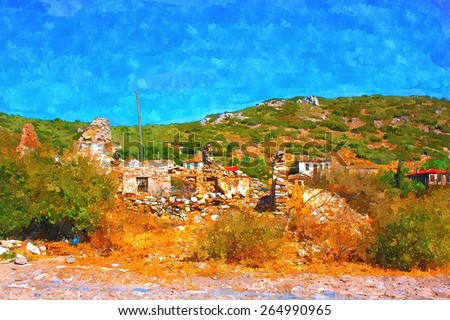 A digitally constructed painting of the old Turkish village of Doganbey - stock photo