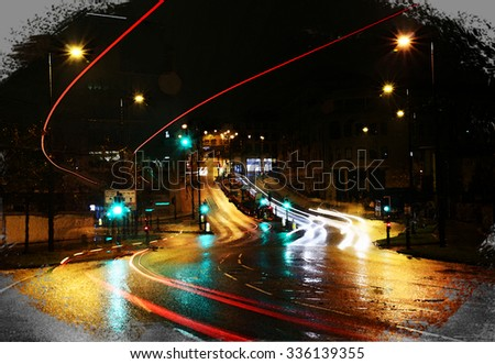 A digitally constructed watercolour of the rain slicked streets of Bradford city centre, England, UK - stock photo