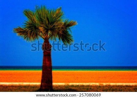 A digitally converted painting of a lone palm tree at the seaside - stock photo
