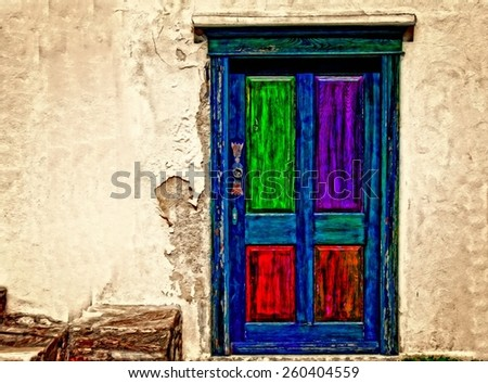 A digitally converted painting of an old weathered panelled door - stock photo