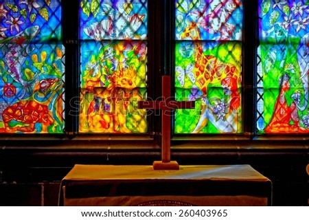 A digitally converted painting of stained glass windows in church - stock photo