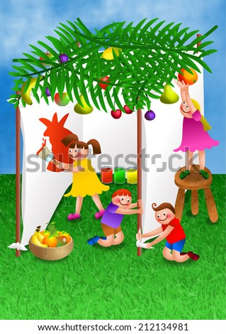 A digitally created colourful cartoon illustration of a group of happy children making their own tent in preparation for the celebration of the Jewish festival, the feast of booths or tabernacles. - stock photo