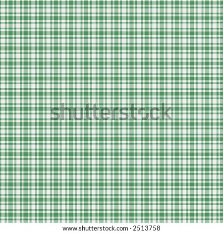 A digitally created green and white plaid with texture. - stock photo