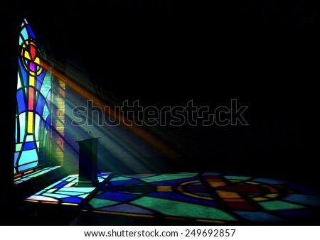 Dim Old Church Interior Lit By Stock Illustration