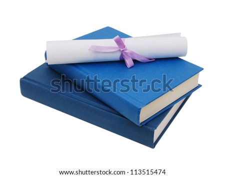 A diploma over blue books. Isolated on white.