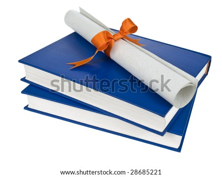 A diploma with orange ribbon over blue books. Isolated on white. - stock photo