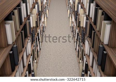 A direct top view of a row of a library bookshelf in a carpeted aisle