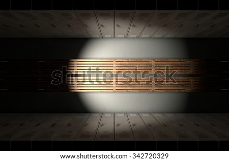 A direct top view of a row of regular gym change room lockers separated by a wooden bench in a corridor - stock photo