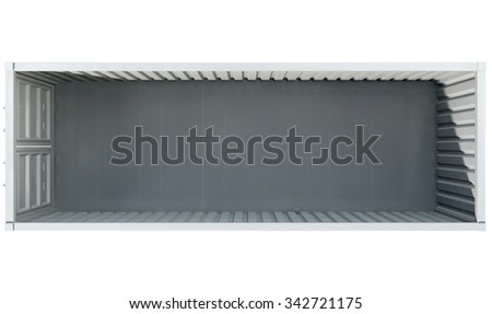 A direct top view of an open shipping container on an isolated white background - stock photo