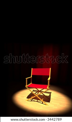 A director chair on the stage