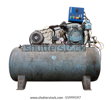 A dirty air compressor, isolated over white. Clipping path is included. - stock photo