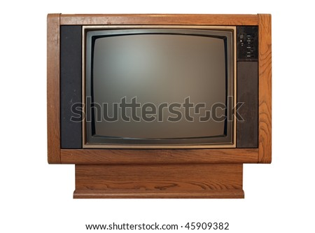 a dirty and dusty vintage floor model wood grain television isolated on a white background.