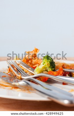 A dirty white plate with food scraps and cutlery
