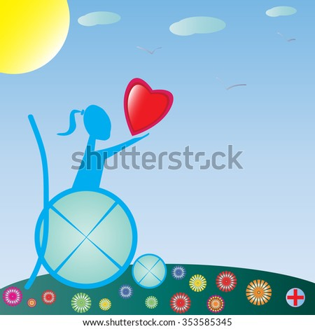 a disabled child with great good angry. Raster version. Illustration - stock photo