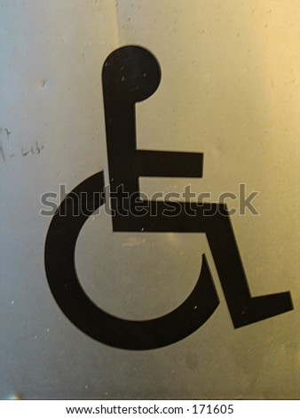 a disabled sign, golden - stock photo