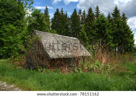 A discarded hunter's hut in the forest (HDR version) - stock photo