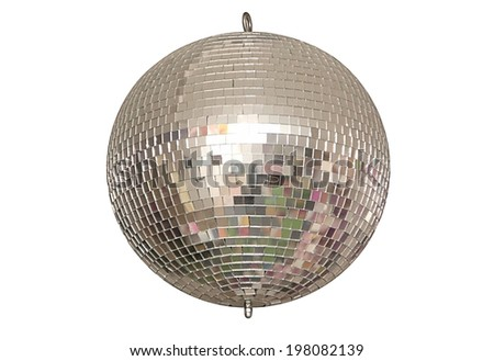 A disco ball is on white background. - stock photo