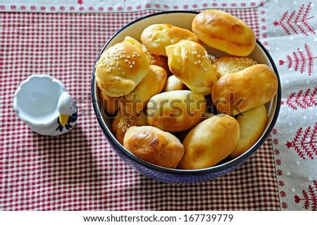 A dish of patties - stock photo