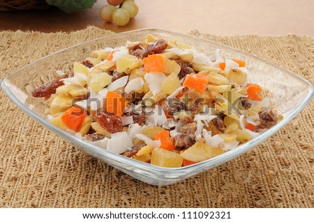 A dish of tropical trail mix