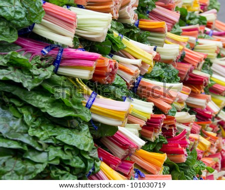 A display of colorful swiss chard at the farmers market - stock photo