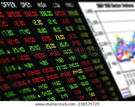 a display of daily stock market price and quotation with graph of financial instrument - stock photo