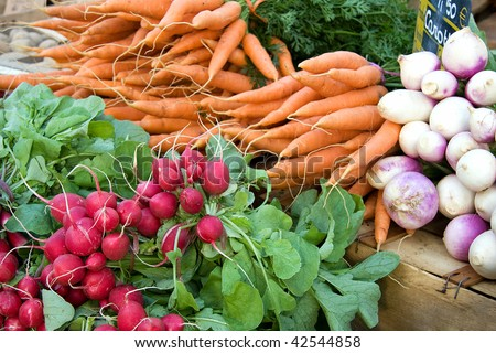 A display of fresh carrots, radishes and turnips for sale at a French market - stock photo