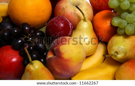 A display of fresh fruits seen close-up