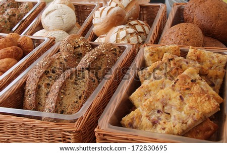 A Display of Freshly Baked Bread Loaves. - stock photo