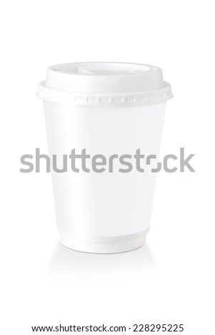A Disposable Coffee Cup With White Blank  Label  Isolated On White Background, Clipping Path Included. - stock photo