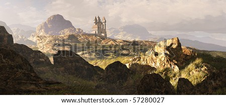A distance medieval castle among the Scottish mountain Highlands. - stock photo