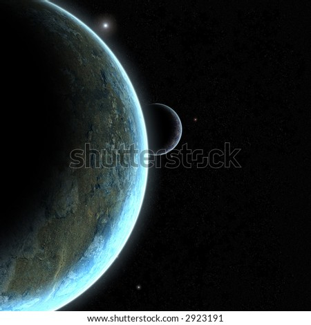 A distant planet and its orbiting moon