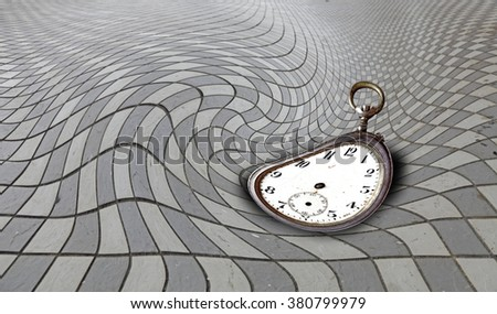 A distorted timeless clock on a swirling checker board for the concept of time warp.