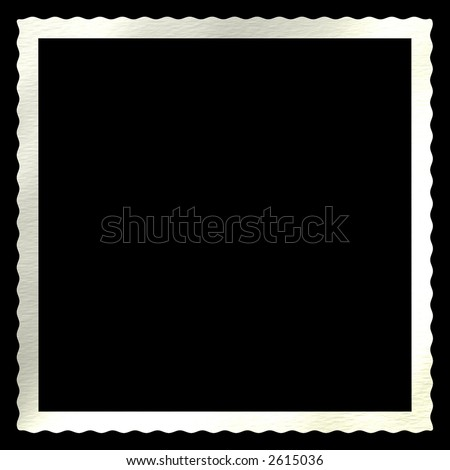 A distressed antique deckled edge for photos and snapshots. Isolated on black. - stock photo