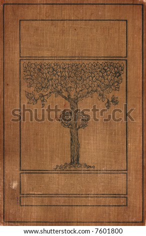 A distressed vintage book cover with a tree illustration. The words of the title have been removed to allow designers to add their own title. - stock photo