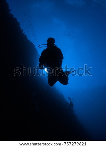 A diver sinks slowly along a vertical reef, Silagen Island, Manado, Indonesia