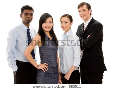 A diverse and confident group of young businessmen and women