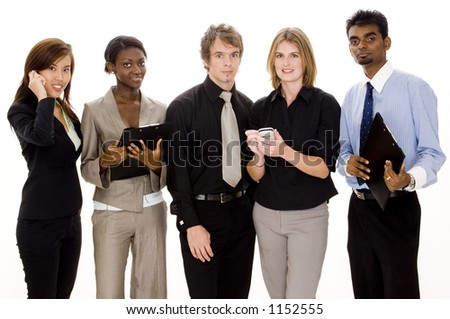 A diverse business team hard at work - stock photo