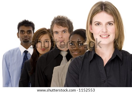A diverse group of businessmen and women in a line - stock photo